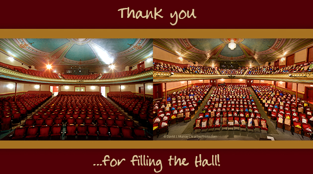 Thank you for Filling the Hall!